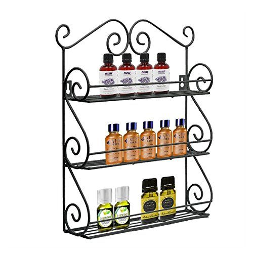 AISHN Scroll Spice Decorative Wall Mounted 3 Tier Wall Hanging Kitchen Spice Rack (Black)
