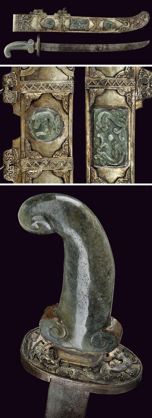 Ceremonial Sword Dated: 19th century Culture: Chinese Medium: steel, jade, semi precious stones, wood,