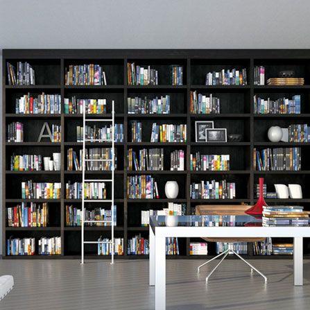 Librería en color wengué con escalera móvil #libreria #armariolibreria #armarios #armario #gijon #toparmarios