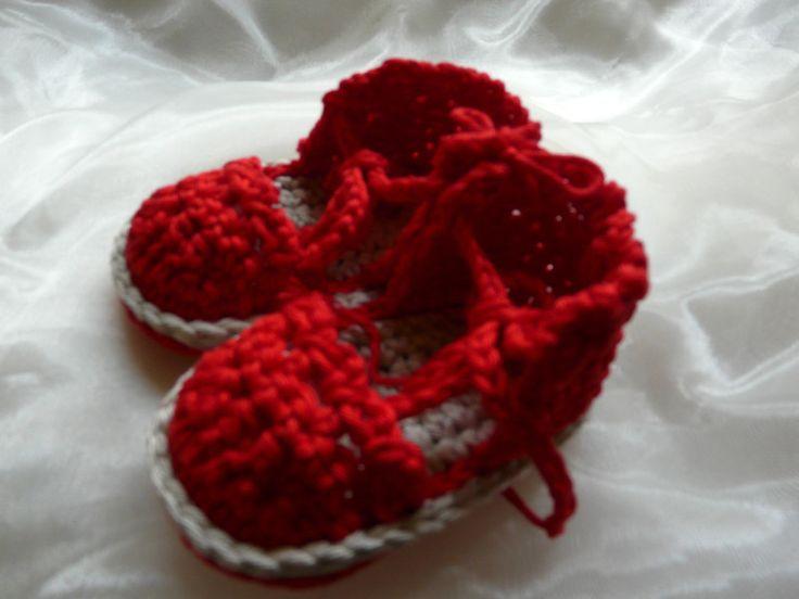 Gebreide & gehaakte schoenen - Zomerse Baby Sandaaltjes/Espadrilles 0 - 6 maanden - Een uniek product van KnitsforKids op DaWanda