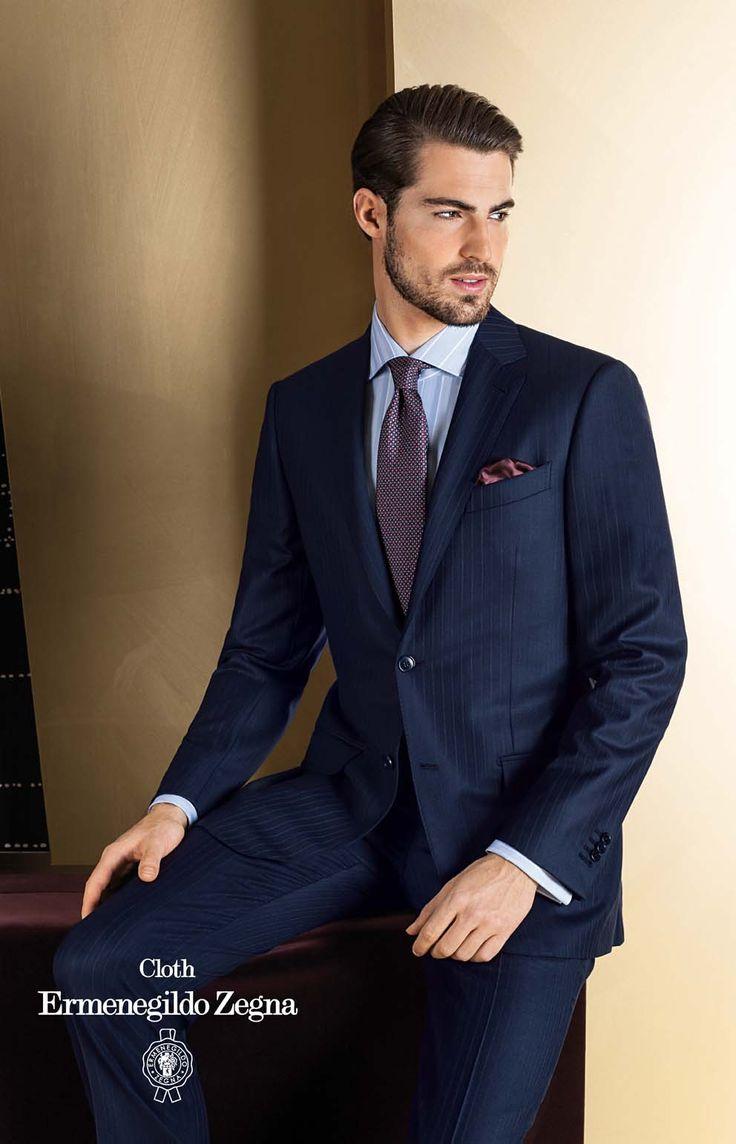 Costum business made to measure din tesatura Cloth Ermenegildo Zegna, colectia TI 2013-2014, tesatura Heritage, compozitie 82% Wool – 14% Mohair – 4% Cashmere, 320 Gr.