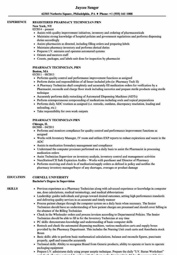 Hospital Pharmacy Technician Resume Inspirational Pharmacy