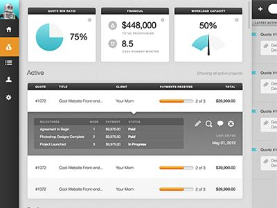 Dribbble - quoterobot v2 dashboard by Shawn Adrian #dashboard