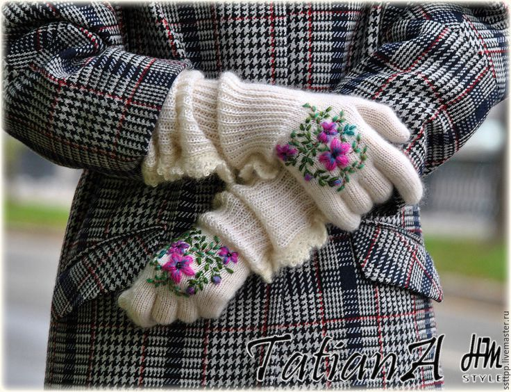 """Купить Длинные мохеровые перчатки с вышивкой """"Цветочные"""" - белый, перчатки, перчатки женские, перчатки вязаные"""