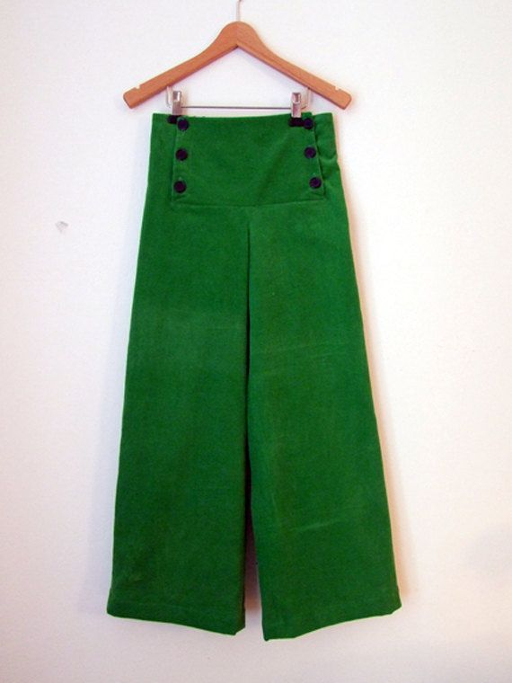PANTS AHOI CORDUROY, Green Corduroy Children's And Babies' Sailor Pants, Wide Long Legs, Sailor Flap Button Closure, Cotton, Maritime Autumn on Etsy, $90.99