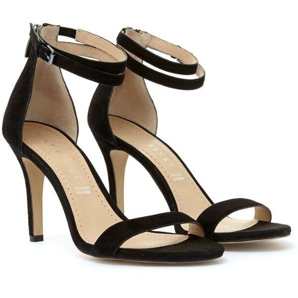 Mint Velvet Fleur Stiletto Heeled Sandals, Black Suede ($135) ❤ liked on Polyvore featuring shoes, sandals, flat strap sandals, black evening sandals, black flat sandals, high heel sandals and black strappy sandals