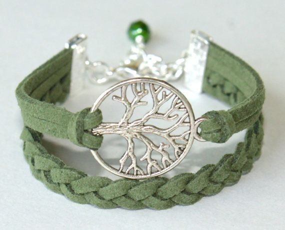 Choose COLOR / SIZE - Silver Tree of Life Charm Braided Bracelet - Microfiber Faux Suede Cord w/ Extension Bracelet - Nickel Free - USA