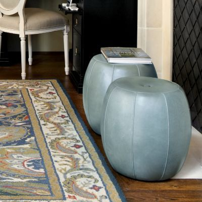 With this petite pouf, you can layer in a #leather texture without a big commitment. #Ballard #Designs