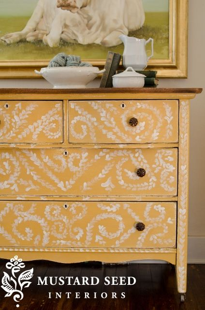 Yellow milk paint dresser over oil paint with for Furniture 0 interest