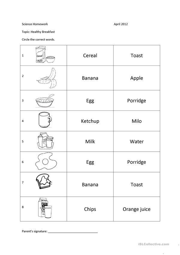 Healthy Food Healthy Healthy Recipes Food Esl food worksheets kindergarten