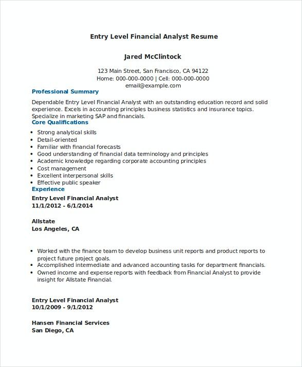 Download Entry Level Financial Analyst Resume Financial Analyst Resume Are You Searching For Financial Ana Financial Analyst Business Analyst Resume Resume