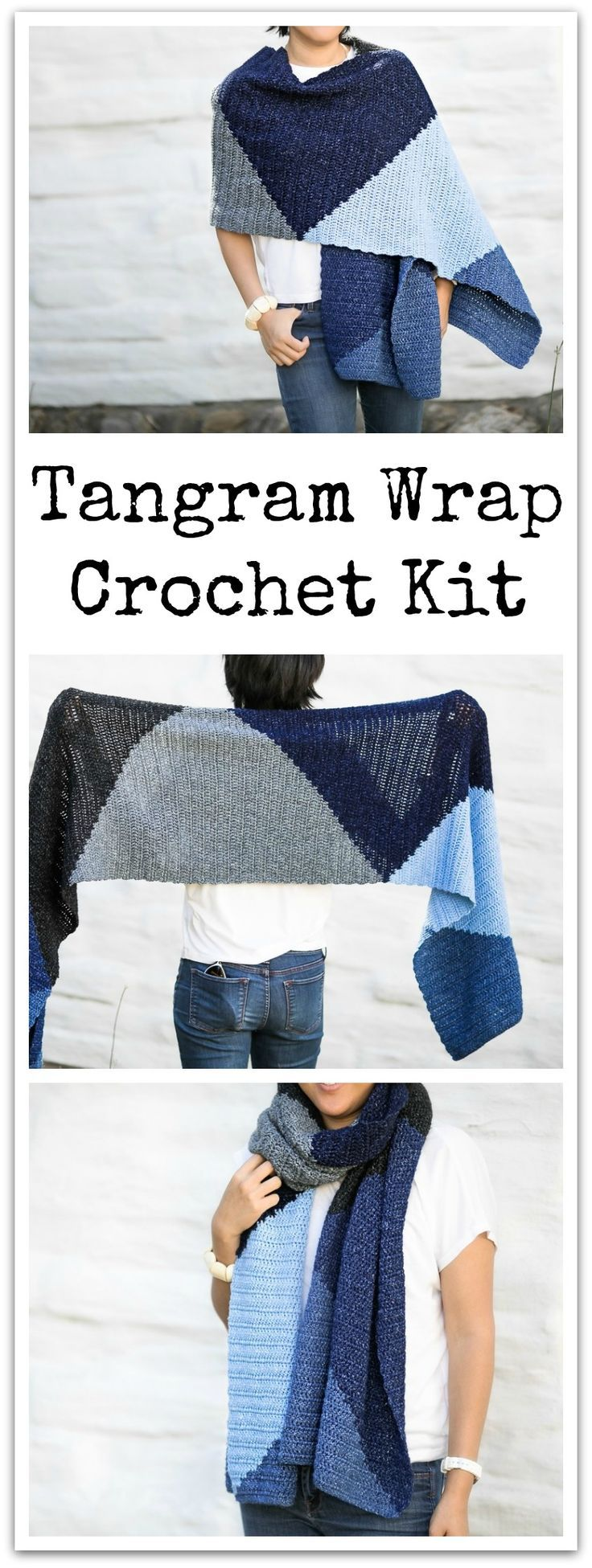 This tangram wrap crochet kit is made in Lion Brand jeans yarn. Pattern included in order of kit. #ad #affiliate #crochet