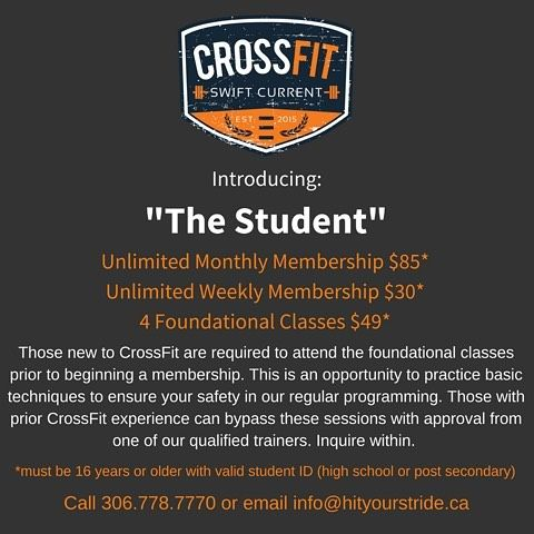 "Are you a high school or post secondary student interested in staying fit but not making any ""real money"" yet? Are you a student looking for a place to work out from time to time when you're home to offset your college/university mac 'n' cheese and ""barley sandwich"" diet? . . You've been asking and we've been hearing you! After all, we were once students, too. CrossFit Swift Current is excited to introduce our newest membership option: The Student. . . Join our community today! . . #crossfit…"