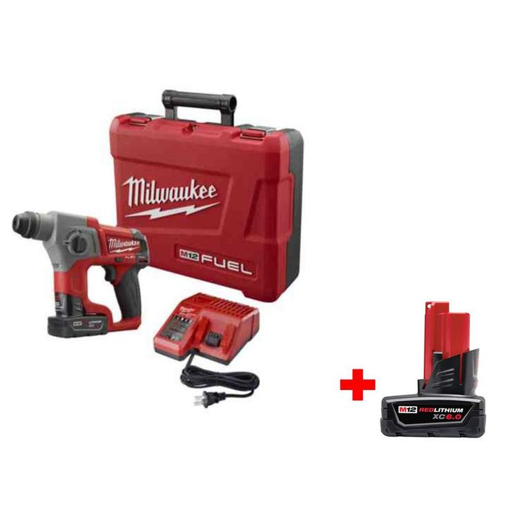 Milwaukee M12 Fuel 12-Volt Lithium-Ion 5/8 in. SDS-Plus Rotary Hammer Kit with 6.0Ah Battery