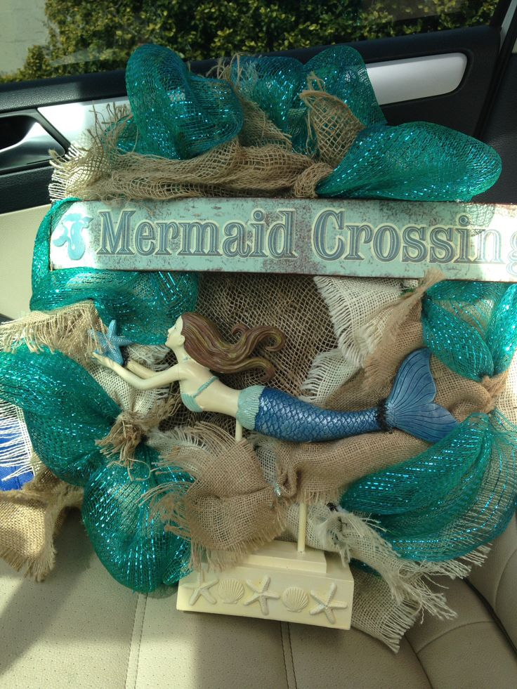 Mermaid Wreath Mermaid Diy Crafts Wreath Crafts Mesh