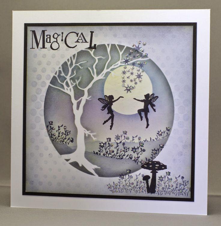 Magical Fairies Card. Wee Folk Fairies and Elves stamps.