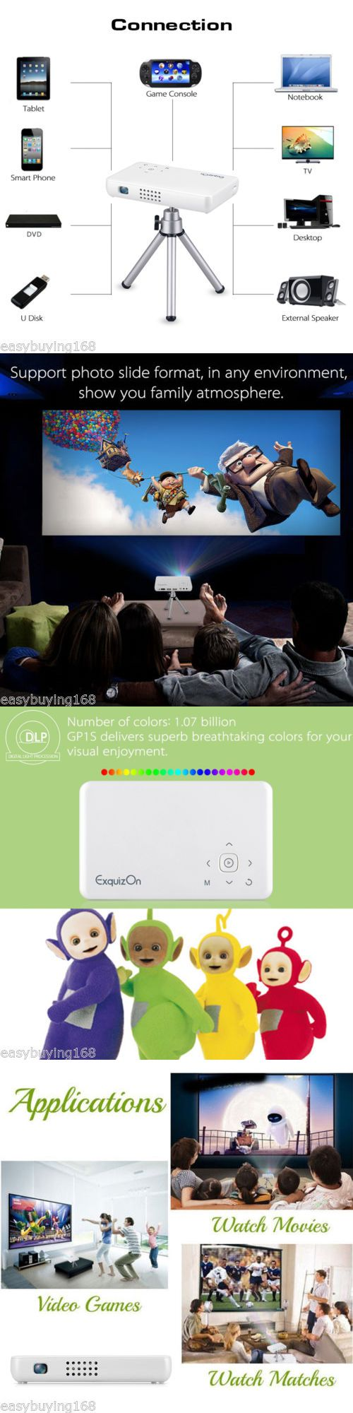 Home Theater Projectors: 5000 Lumens Hd 1080P Home Theater Projector Dlp Portable Sd Hdmi Vga Usb 10000:1 -> BUY IT NOW ONLY: $189.39 on eBay!