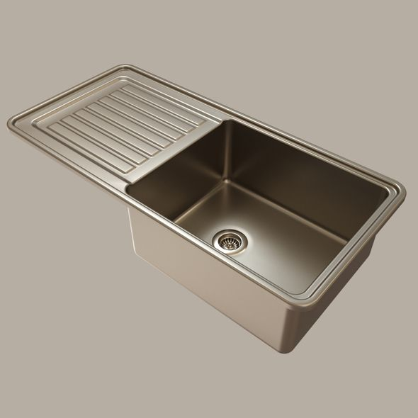 Stainless Steel Kitchen Sink By Sam 72 3d Model Stainless Steel