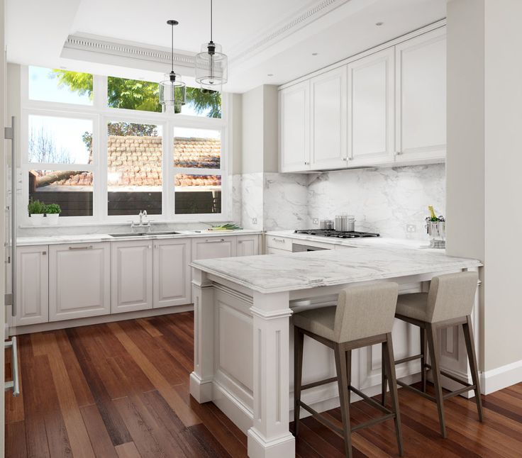 Hamptons Style Kitchen With Calacatta Marble Benchtop. Wahroonga, NSW