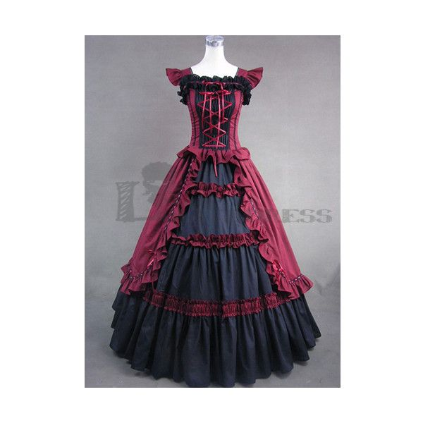 Online Sleeveless Bandage Ruffled Black and Red Gothic Victorian Large... (390 PLN) ❤ liked on Polyvore featuring costumes, dresses, fancy halloween costumes, gothic lolita costume, goth halloween costumes, victorian halloween costumes and gothic costumes