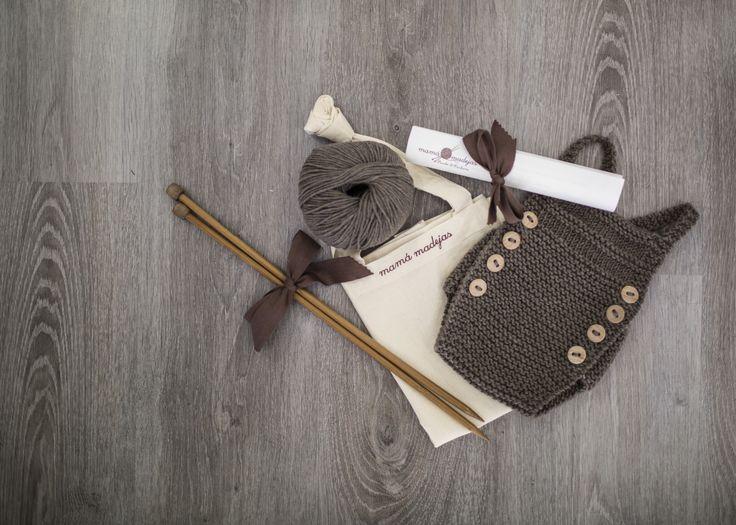 Kit de punto para tejer: Peto Agujas de madera Lana merino 10 botones de madera Receta Bolsa de labor de mamamadejas.