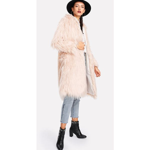 SheIn(sheinside) Faux Fur Hooded Coat (4720 RSD) ❤ liked on Polyvore featuring outerwear, coats, long coat, hooded coat, collar coat, long hooded coat and leather-sleeve coats