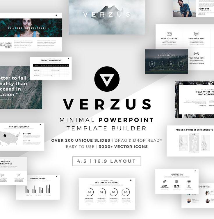 """다음 @Behance 프로젝트 확인: """"Verzus Minimal PowerPoint Template Builder"""" https://www.behance.net/gallery/43515229/Verzus-Minimal-PowerPoint-Template-Builder"""