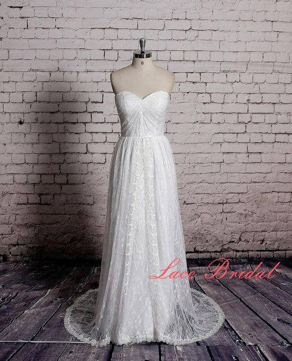 Outside Wedding Gown Classic Lace Bridal Gown Sheer by LaceBridal