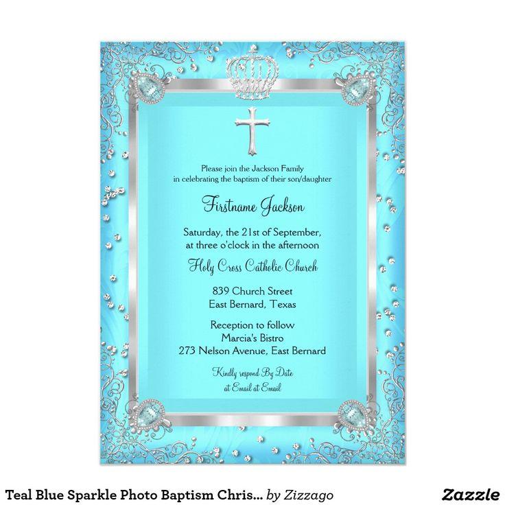 Teal Blue Sparkle Photo Baptism Christening 4.5x6.25 Paper Invitation Card