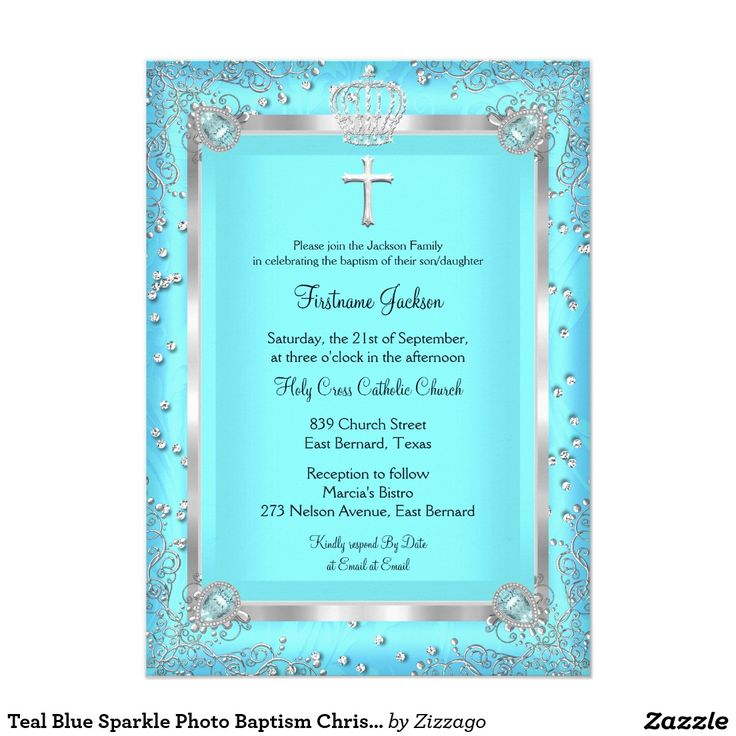 Teal Blue Sparkle Photo Baptism Christening 4.5x6.25 Paper Invitation Card