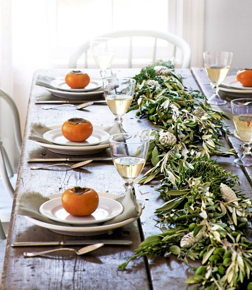 Why bother with an elaborate centerpiece when this simple garland creates such lovely impact?