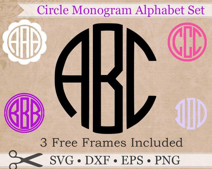 Circle Monogram SVG, EPS, DXF, Png Files, Circle Monogram Font Design+3 Free Frames, Circle Svg Silhouette Studio Files, Cut Files, Cricut by DigitalEffectSVG on Etsy https://www.etsy.com/listing/267938164/circle-monogram-svg-eps-dxf-png-files