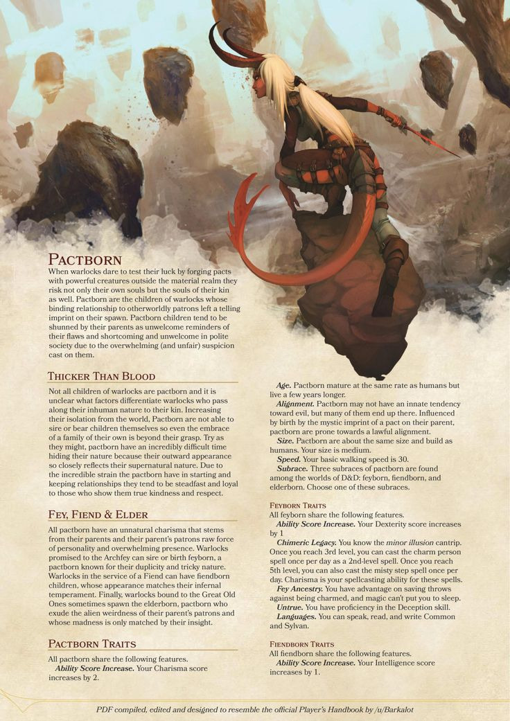 DnD 5e Homebrew — Pactborn by coolgamertagbro