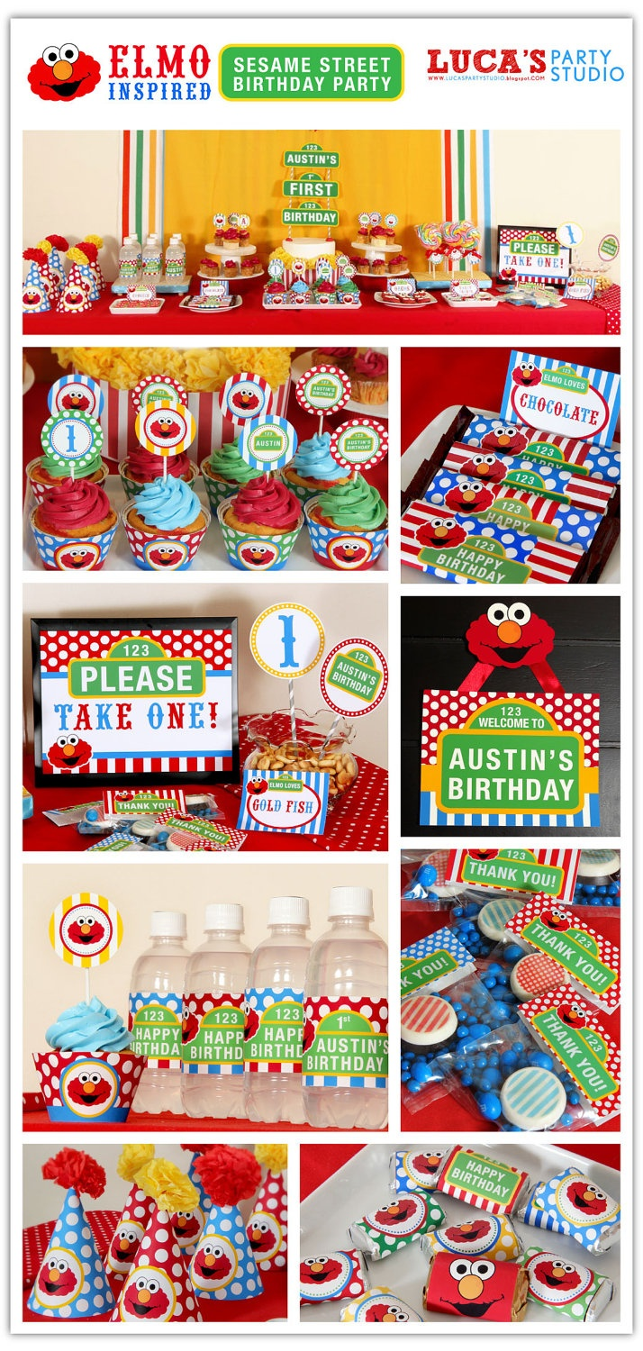 Elmo Sesame Street Inspired Birthday Party - DIY PRINTABLE -  Personalized Package FULL Collection - XA102x. $35.00, via Etsy.