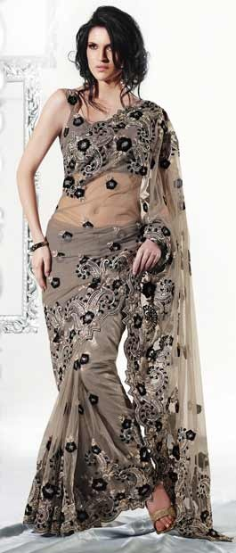 Grey Net #Saree With #Blouse @ $189.53 | Shop Here: http://www.utsavfashion.com/store/sarees-large.aspx?icode=sds1932 #netsaree #snapdeal #India