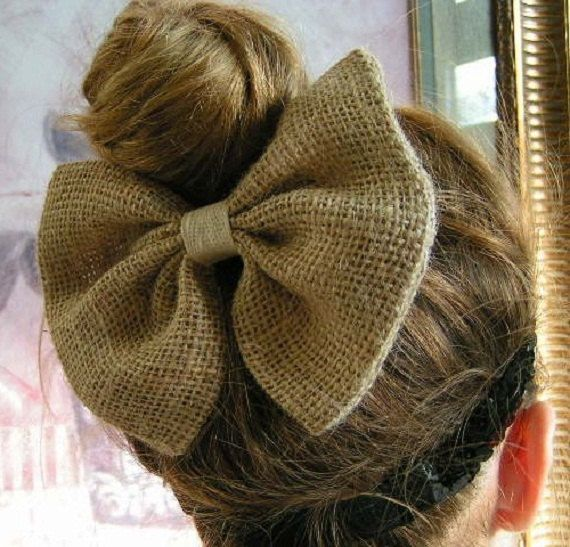 Natural Color Burlap Hair Bow for Teens and Women, French Barrette, Bow Clip, Ivory Color, Burlap Color