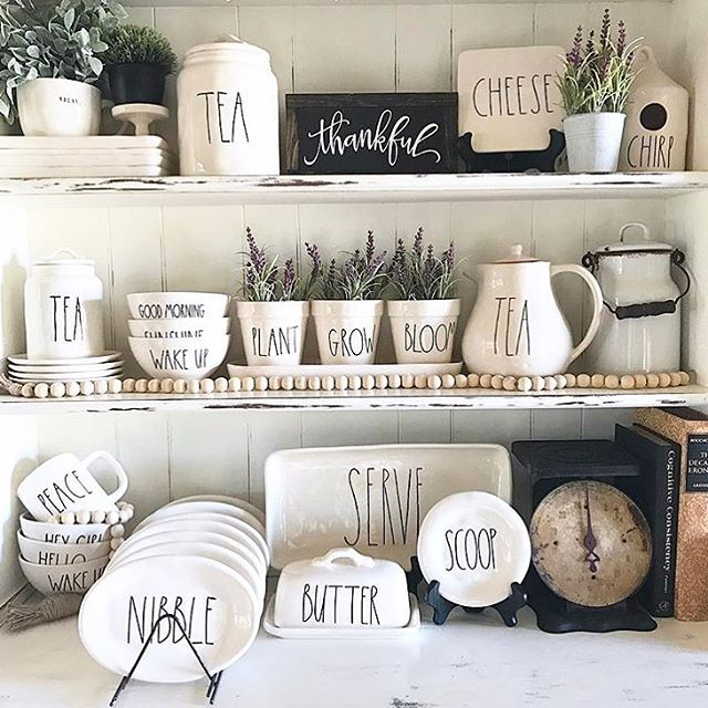 Rae Dunn Collection   Mugs, Platters, Side Plates And More.All Things Rae  Dunn   Kitchen Display.