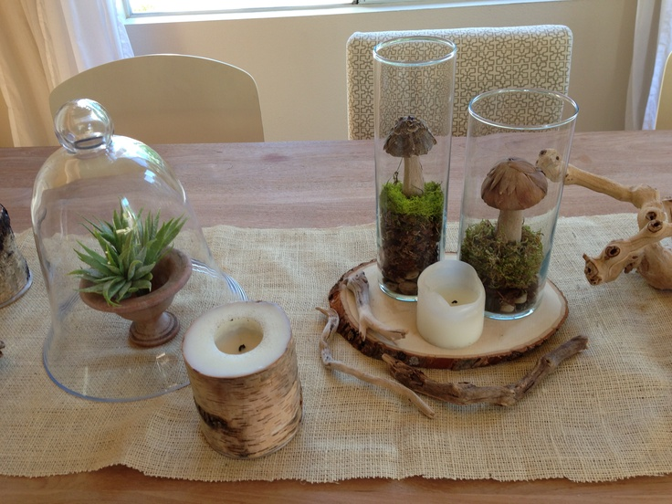 Woodland mushroom centerpiece for dining room cut piece