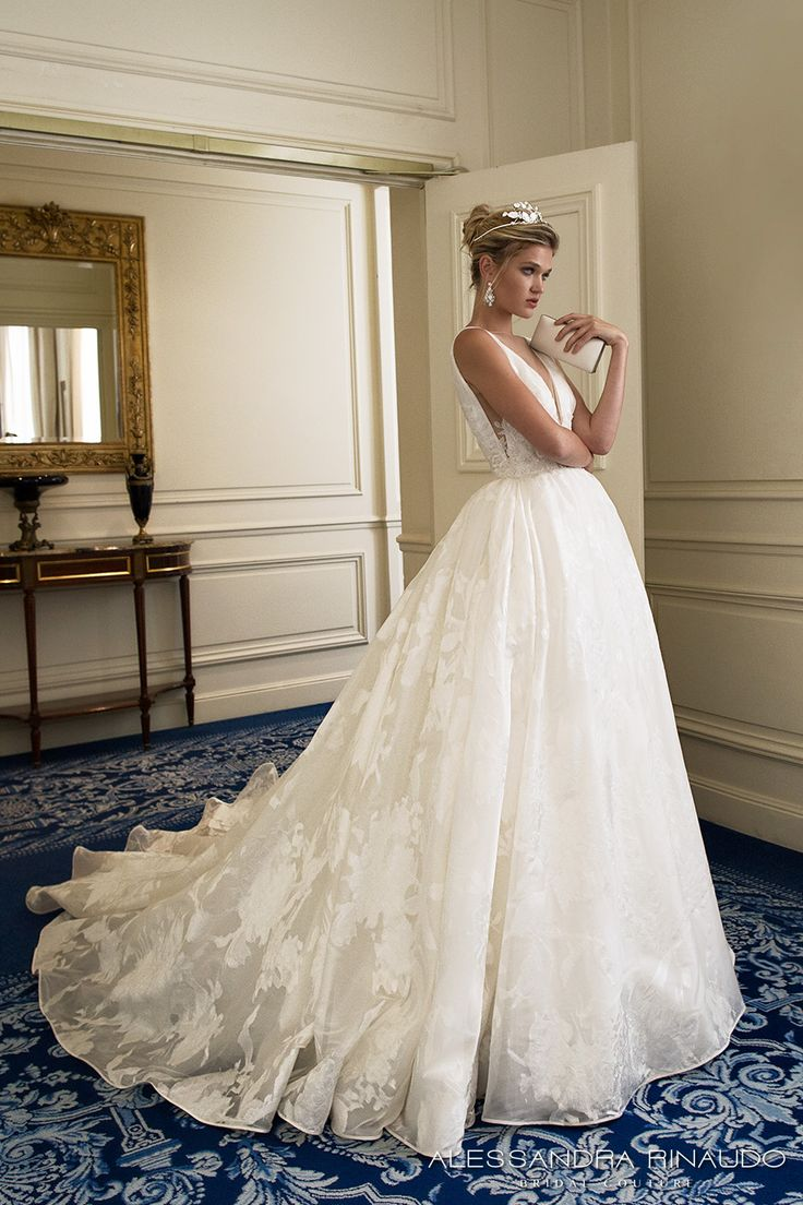 alessandra rinaudo 2017 bridal sleeveless deep v neck full embellishment pretty princess a  line ball gown wedding dress low v back chapel train (bridget) sdv mv