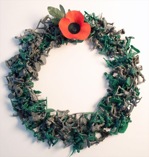 Remembrance Wreath : Rachel Holding. Over 300 toy soldiers partially melted together to create a single wreath.