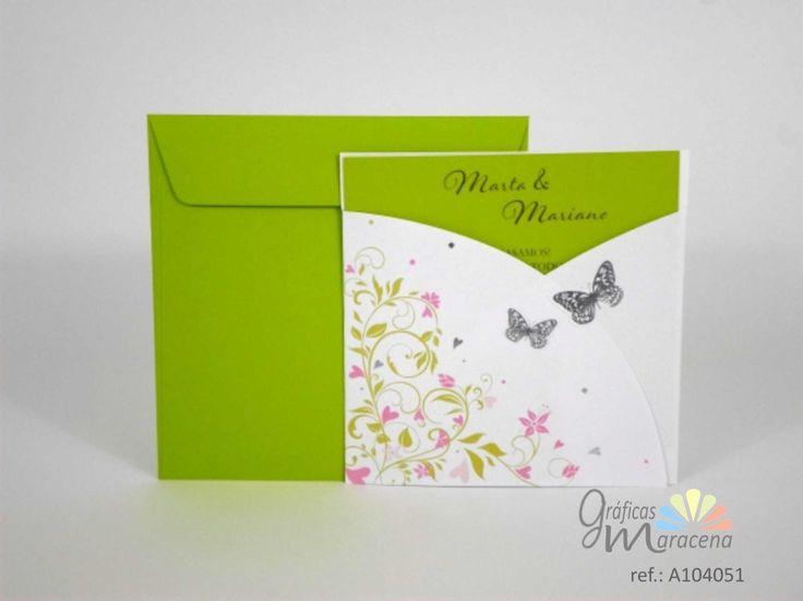 Invitación de boda Mariposas con tonos verdes.