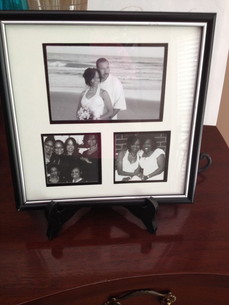 Memory photo gift autographed by party guest as they arrived.