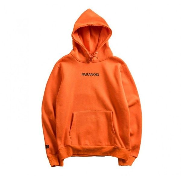 Anti Social Social Club Assc Undefeated Paranoid Pouch Hoodie (Orange) ($80) ❤ liked on Polyvore featuring tops, hoodies, hooded pullover, orange top, orange hoodies, sweatshirt hoodies and streetwear hoodies