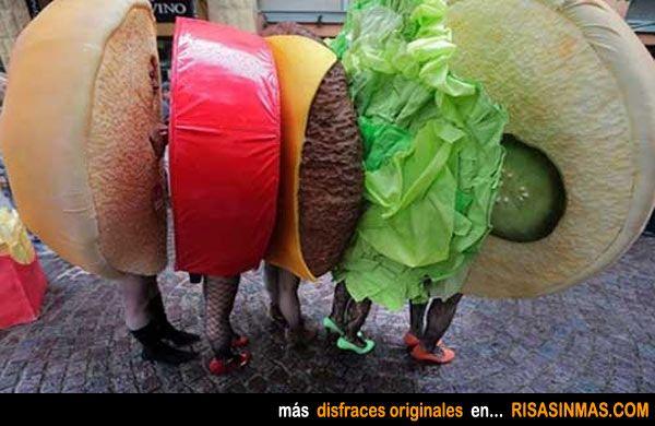 Disfraces originales en grupo: Hamburguesa.
