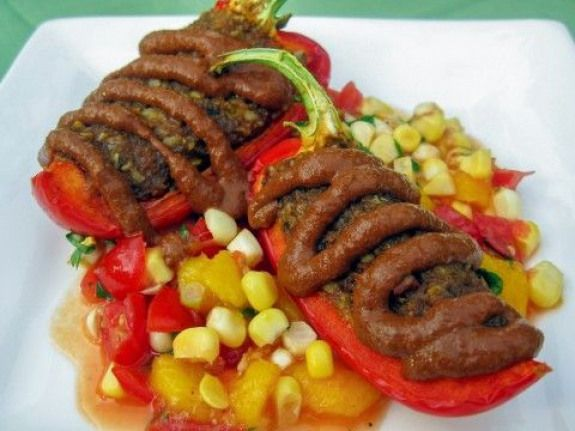 Raw Vegan Chili Rellenos With Mole Sauce And Mango Salsa Detoxsoup In 2020 Healthy Blender Recipes Vegan Recipes Healthy Raw Vegan Recipes