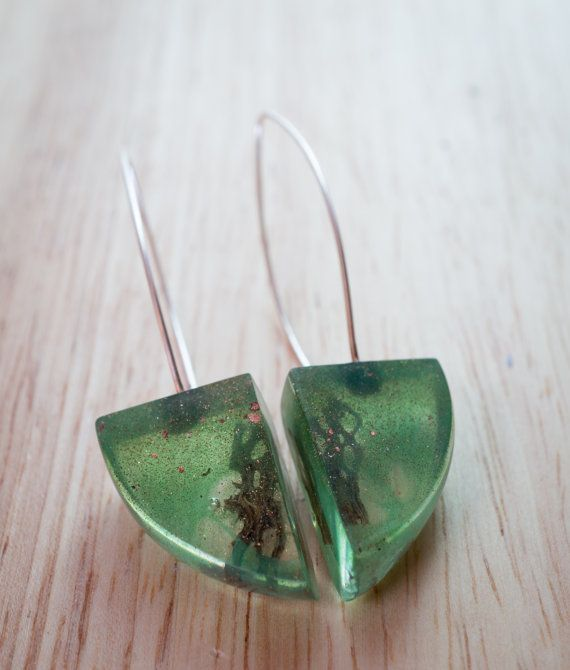 Unique Deep Green Forest  triangulum Earrings by karinadelirio, £30.00
