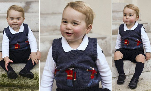 Looking remarkably like his father William when he, too, was a toddler, George grins for the cameras, showing off the dimples he has inherited from his mother and a hint of his mischievous character.