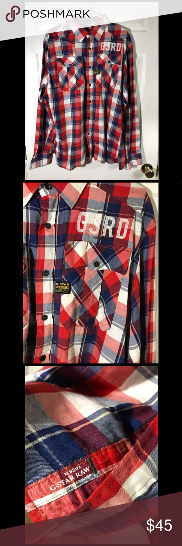 """G-Star Raw Denim Tunnel Phelps Long Sleeve Button G-Star Raw Denim Tunnel Phelps Shirt Long Sleeve Red Blue White Button Down  Pre-owned, Worn once !  100% Authentic  Size 2XL  Pit to Pit 24""""  Top to Bottom 30""""  Shoulder to cuff 32""""  Also has a zipper alongside with buttons!  Fast Shipping! G-Star Shirts Casual Button Down Shirts"""