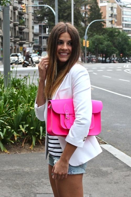 White blazer + Neon pink satchel - Trendy Taste