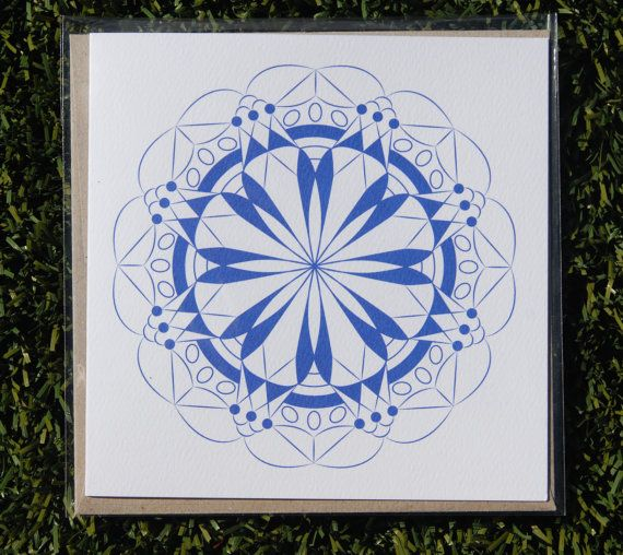 Round geometric design greeting card by KatieMichelleDesigns